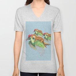 Weasel Riding Woodpecker Gang on Blue  Unisex V-Neck