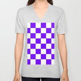 Large Checkered - White and Indigo Violet Unisex V-Neck