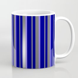 Blue, Dim Grey, and Medium Slate Blue Colored Lined/Striped Pattern Coffee Mug