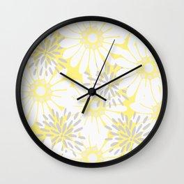 Summer Flowers Yellow Wall Clock