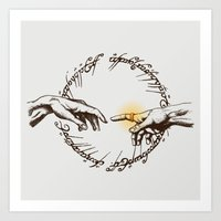 lord of the ring Art Prints featuring God of Ring by le.duc