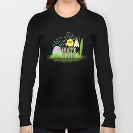 Happy Easter Egg, Chick and Snowdrop Long Sleeve T-shirt