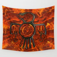 native american Wall Tapestries featuring Flight 2 Native American by BohemianBound