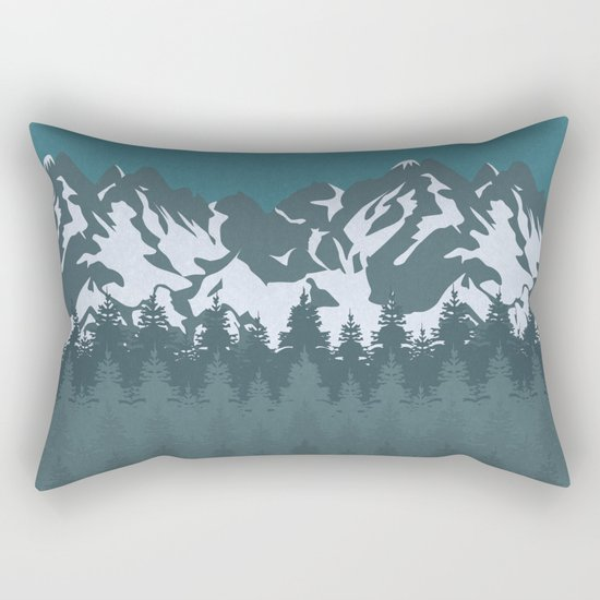 Trees and Mountains Rectangular Pillow