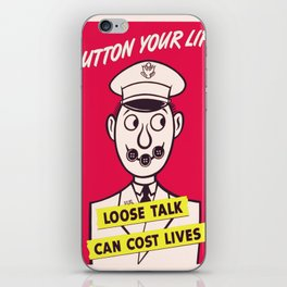 Vintage poster - Button Your Lip iPhone Skin