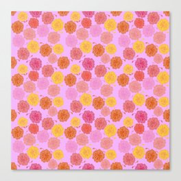 Hibiscus Hawaiian Flowers in Pinks and Corals on Llilac Canvas Print
