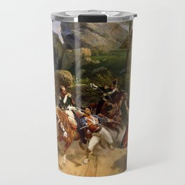 Classical Masterpiece Italian Brigands Surprised by Papal Troops by Horace Vernet Travel Mug