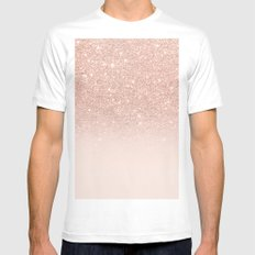 Rose gold faux glitter pink ombre color block White Mens Fitted Tee MEDIUM
