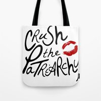 feminism Tote Bags featuring yeah, feminism! by Olivia Graziano