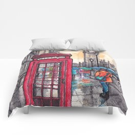 Rainy day in London ink & watercolor illustration Comforters