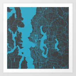Seattle map blue Art Print