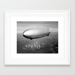 Airship over New York Framed Art Print