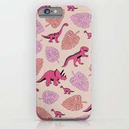 Dinosaur jungle illustration pattern hot pink girls iPhone Case