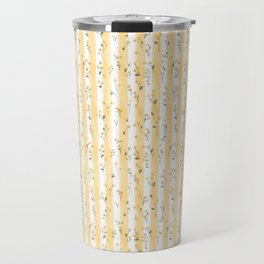 Buttercup Yellow Flower Blossoms on Butter Yellow Streaky Stripes Travel Mug
