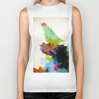 contemporary Biker Tanks featuring Bird standing on a tree by contemporary