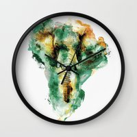 Wall Clocks featuring WILD AFRICA by RIZA PEKER