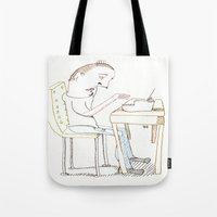 write Tote Bags featuring Write, Right? by Joseph Nathan