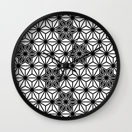 Japanese Asanoha or Star Pattern, Black and White Wall Clock
