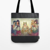 sailor moon Tote Bags featuring Sailor Moon by KATIE PAYNE