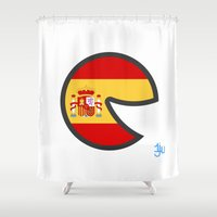 spain Shower Curtains featuring Spain Smile by onejyoo