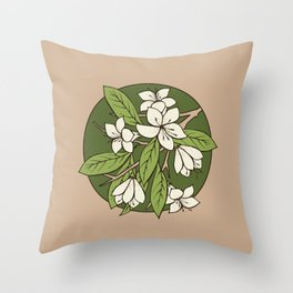 Sakura Branch - Greenery Throw Pillow