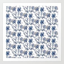 Chambray Flower Pattern Art Print