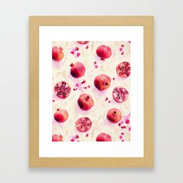 Painted Pomegranates with Gold Leaf Pattern Framed Art Print