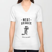meat V-neck T-shirts featuring Meat Grinder by UiNi