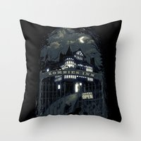 zombies Throw Pillows featuring Zombies Inn by nicebleed