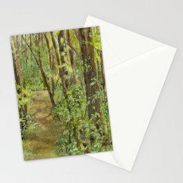 Wooded Path Watercolor Landscape Detailed Realism Stationery Cards