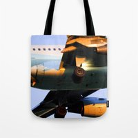 plane Tote Bags featuring Plane by Luc Girouard