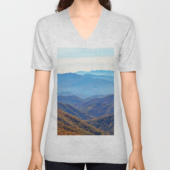 Smoky Mountain Layers Unisex V-Neck