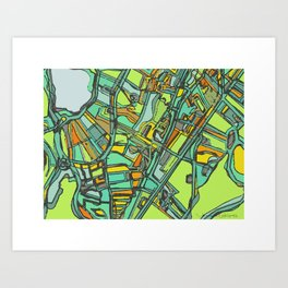 Abstract Map- Jamaica Plain, Boston Art Print