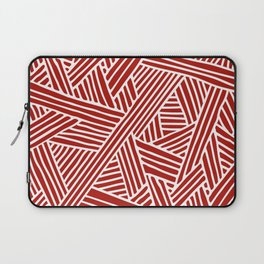Abstract Navy Red & White Lines and Triangles Pattern Laptop Sleeve