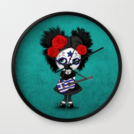 Day of the Dead Girl Playing Greek Flag Guitar Wall Clock