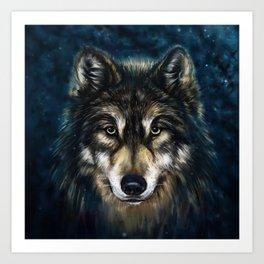 Artistic Wolf Face Art Print