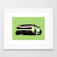 lamborghini Framed Art Prints featuring LAMBORGHINI GALLARDO by MATT WARING