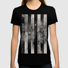 Stripes In Space - Black and white panel effect space scene T-shirt