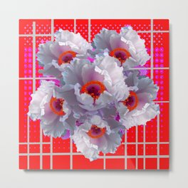 MODERN WHITE TREE PEONY FLOWERS RED FUCHSIA  ART Metal Print