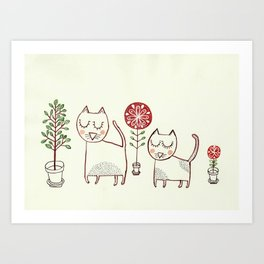 Cat couple and their plants. Art Print