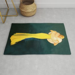 """Pinup by Rolf Armstrong """"The Fur Stole"""" Rug"""