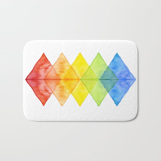 Geometric Watercolor Shapes Triangles Pattern Bath Mat