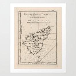Vintage Tenerife Island Map (1764) Art Print
