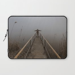 Man with open arms on a frozen pier shrouded in mist Laptop Sleeve