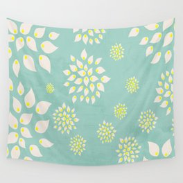 Ivory Flowers on Seafoam Green Wall Tapestry