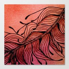 Doodled Autumn Feather 01 Canvas Print