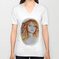 jennifer lawrence V-neck T-shirts featuring Jennifer Lawrence Watercolor (Light) by Halinka H
