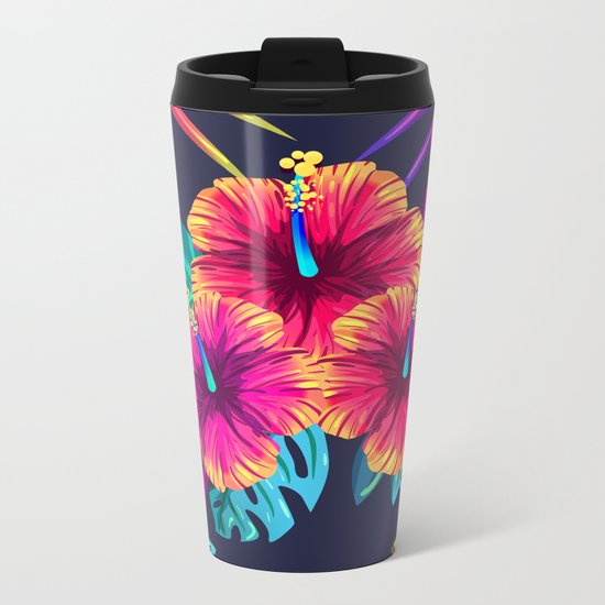 Tropical Flowers Metal Travel Mug