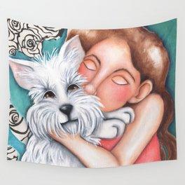 Sweet Coconut Original Art Schnauzer and girl Portrait Wall Tapestry