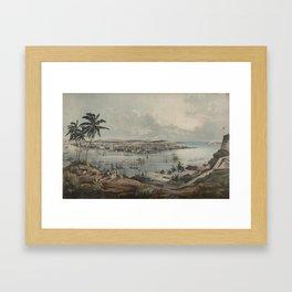 Vintage Pictorial Map of Havana Cuba (1851) Framed Art Print